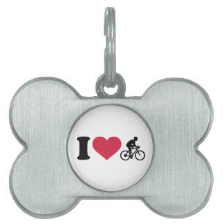 Amo el ciclo de la bici placas de mascota
