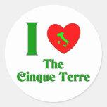 Amo el Cinque Terre Italia Pegatinas Redondas