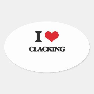 Amo el Clacking Pegatina Ovalada