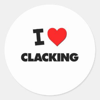 Amo el Clacking Pegatina Redonda