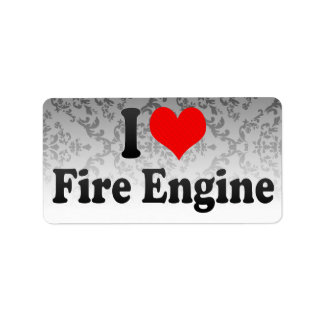 Amo el coche de bomberos etiqueta de dirección