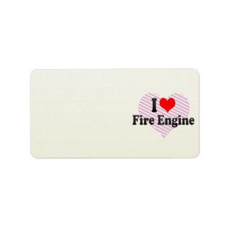 Amo el coche de bomberos etiquetas de dirección