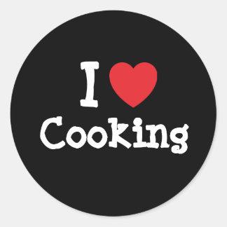 Amo el cocinar del personalizado del corazón perso pegatinas