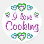 Amo el cocinar etiqueta redonda
