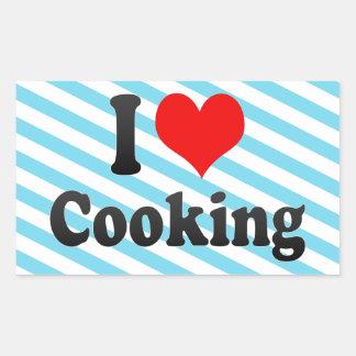 Amo el cocinar rectangular pegatinas