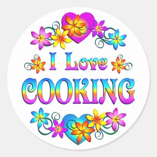 Amo el cocinar pegatina redonda
