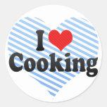 Amo el cocinar pegatinas redondas