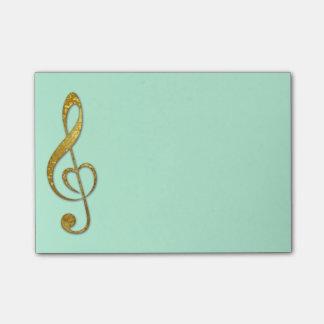 Amo el cojín de notas pegajoso de la música nota post-it®