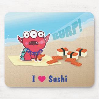 Amo el cojín de ratón del sushi del Spam Alfombrillas De Ratones