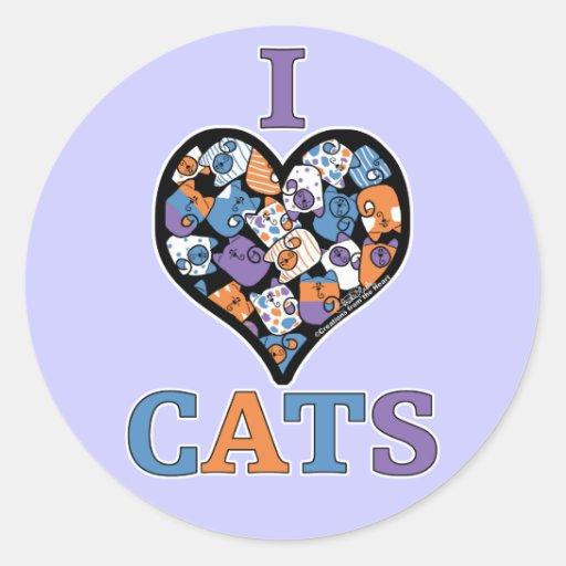 Amo el collage del corazón de los gatos pegatina redonda