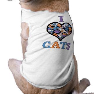 Amo el collage del corazón de los gatos playera sin mangas para perro