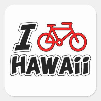 Amo el completar un ciclo de Hawaii Calcomanía Cuadradas Personalizadas