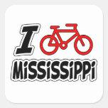 Amo el completar un ciclo de Mississippi Pegatinas Cuadradases Personalizadas