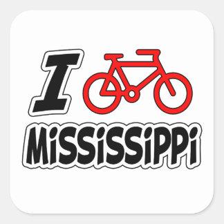 Amo el completar un ciclo de Mississippi Pegatina Cuadrada