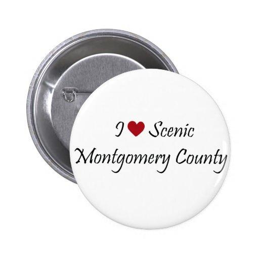 Amo el condado de Montgomery escénico Pin Redondo 5 Cm