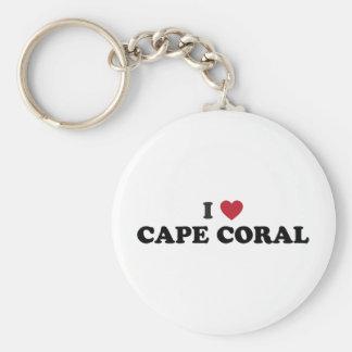 Amo el coral la Florida del cabo Llavero Redondo Tipo Pin