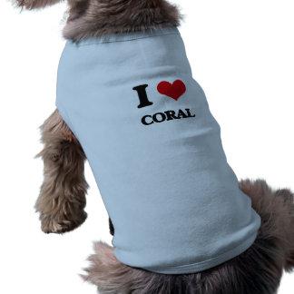 Amo el coral playera sin mangas para perro