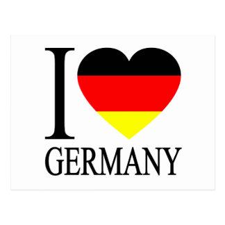 Amo el corazón alemán de la bandera de Alemania Tarjetas Postales