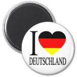 Amo el corazón alemán de la bandera de Deutschland Imán Redondo 5 Cm