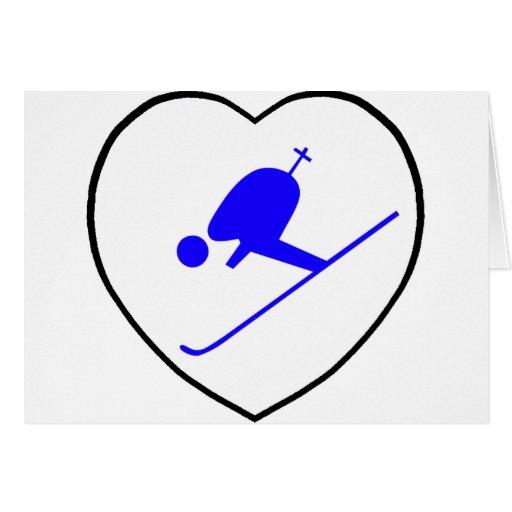 Amo el corazón azul de esquí del blanco del esquia tarjeta de felicitación