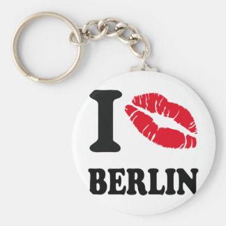Amo el corazón BERLÍN del beso Llavero Redondo Tipo Pin