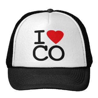 Amo el corazón Colorado Gorros