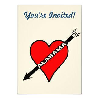 Amo el corazón de Alabama Invitación 12,7 X 17,8 Cm