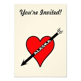 Amo el corazón de Alaska Invitación 12,7 X 17,8 Cm