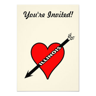 Amo el corazón de Illinois Invitación 12,7 X 17,8 Cm