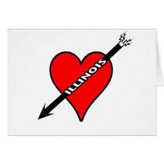 Amo el corazón de Illinois Tarjeta Pequeña