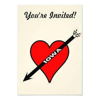 Amo el corazón de Iowa Invitación 12,7 X 17,8 Cm