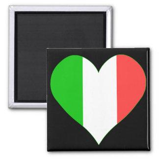 Amo el corazón de Italia Imán Cuadrado