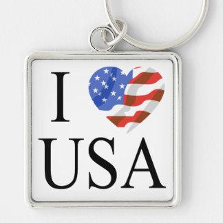 Amo el corazón de la bandera de los E E U U Llavero Personalizado