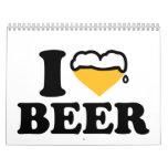 Amo el corazón de la cerveza calendarios