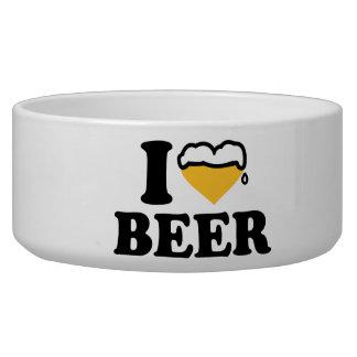 Amo el corazón de la cerveza comedero para mascota