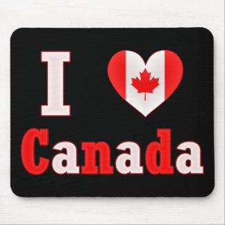 Amo el corazón de la hoja de arce de Canadá Mouse Pads