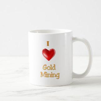 Amo el corazón de la minería aurífera taza básica blanca