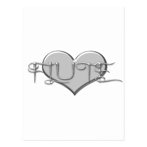 Amo el corazón de la plata de la flauta tarjetas postales