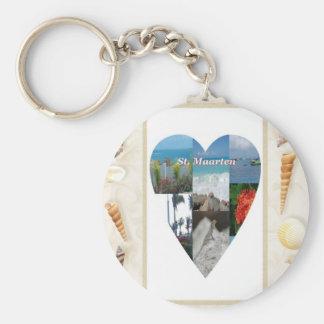 Amo el corazón de las cáscaras del St. Maarten -.  Llavero Redondo Tipo Pin
