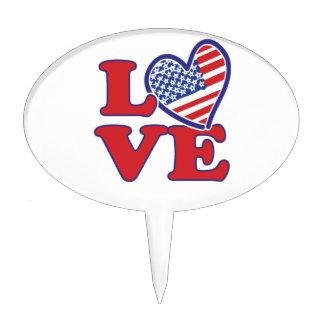 Amo el corazón de los E.E.U.U. Figura Para Tarta