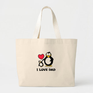 Amo el corazón del pingüino del papá bolsa tela grande