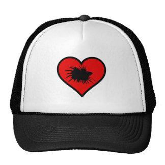 Amo el corazón del rojo de la silueta de los gorros
