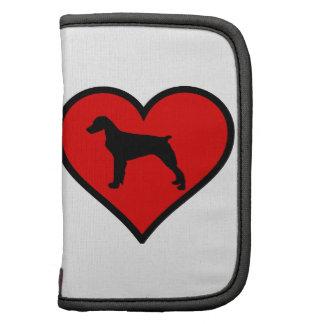 Amo el corazón del rojo de la silueta del perro planificadores