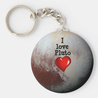 Amo el corazón del rojo de Plutón Llavero Redondo Tipo Pin