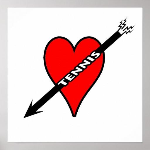 Amo el corazón del tenis impresiones