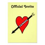 Amo el corazón del tenis invitación 12,7 x 17,8 cm
