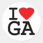 Amo el corazón Georgia Pegatina Redonda