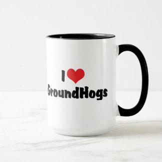 Amo el corazón Groundhogs - al amante de Groundhog Taza