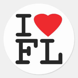 Amo el corazón la Florida Etiqueta Redonda