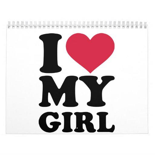Amo el corazón mi chica calendarios